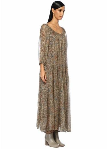 Mes Demoiselles Kayık Yaka Çiçekli Maksi Şifon Elbise Renkli